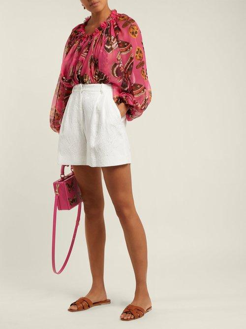 Butterfly-print silk blouse by Dolce & Gabbana