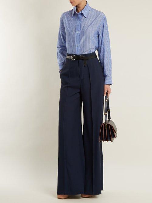 Point-collar striped cotton shirt by Vanessa Bruno