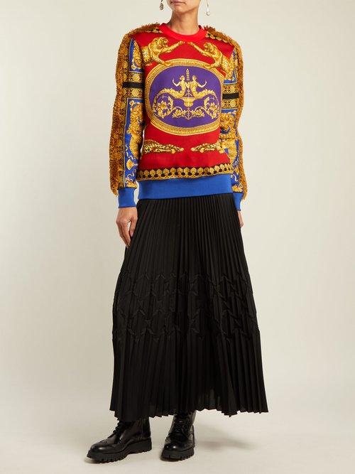 Pillow Talk fringe-trimmed cotton sweatshirt by Versace