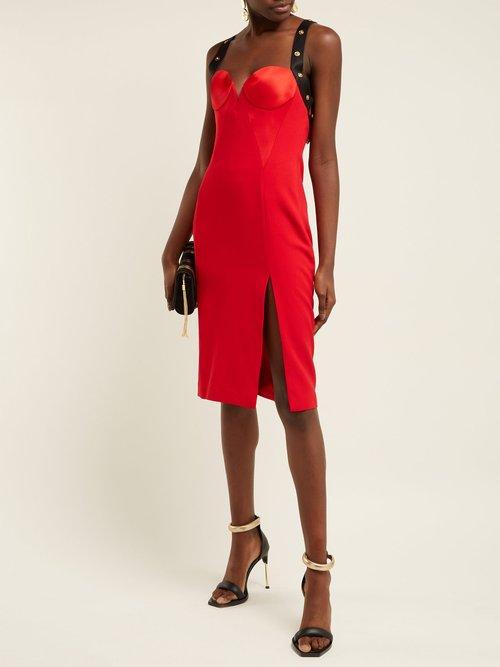 Medusa Stud Satin Mini Dress by Versace