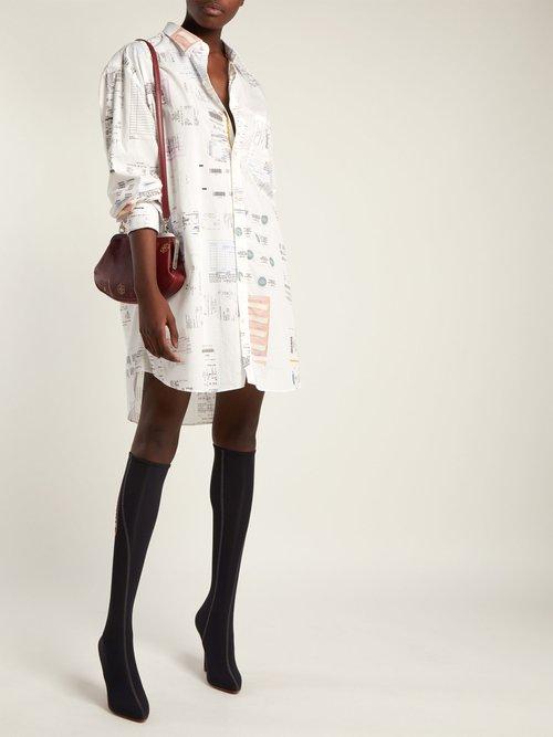 Oversized receipt-print cotton shirt by Vetements