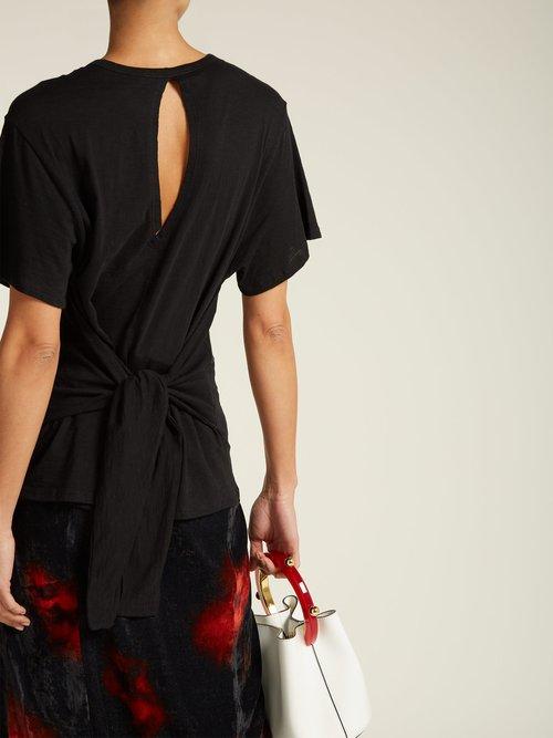 Tie-waist cotton T-shirt by Proenza Schouler