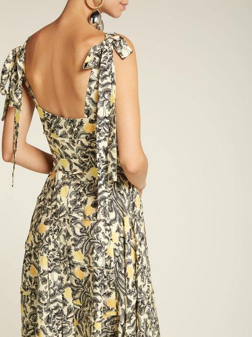 Tie-shoulder floral-print crepe dress by Proenza Schouler
