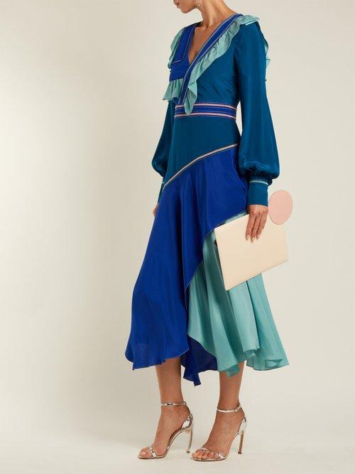 Ruffled silk crepe de Chine dress by Sonia Rykiel