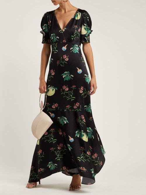 Fruit Print Silk Midi Dress by Peter Pilotto