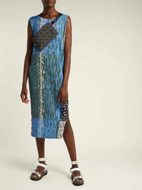 Animal Print Pleated Dress by Pleats Please Issey Miyake
