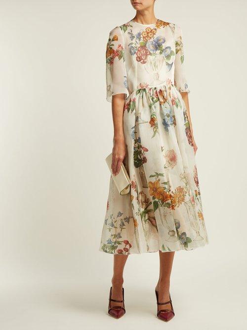 Floral Print Silk Organza Dress by Dolce & Gabbana