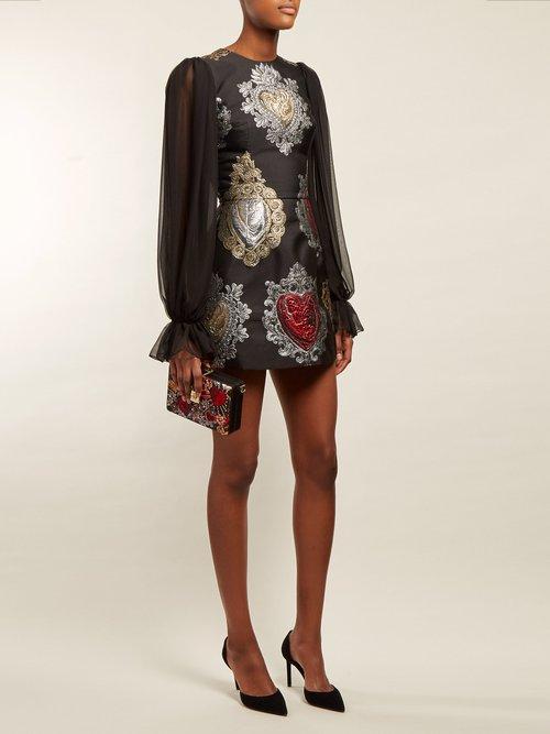 Sacred Hearts Brocade Mini Dress by Dolce & Gabbana