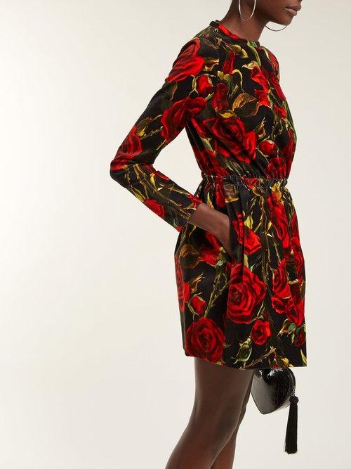 Rose Print Velvet Dress by Dolce & Gabbana