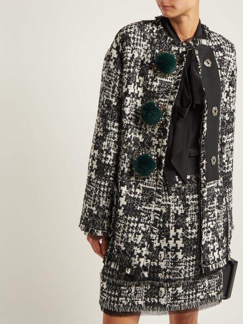 Pompom Embellished Tweed Jacket by Dolce & Gabbana