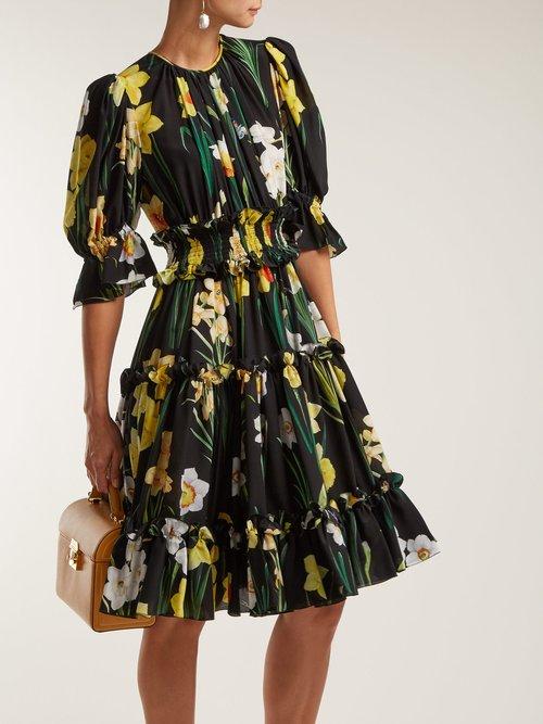 Daffodil Print Silk Crepe De Chine Dress by Dolce & Gabbana