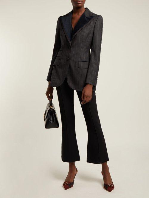 Single Breasted Pinstripe Wool Blend Blazer by Dolce & Gabbana