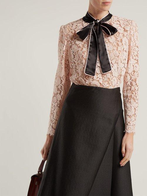 Lace satin neck-tie blouse by Dolce & Gabbana