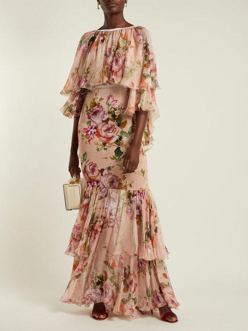 Photo of Floral Print Silk Chiffon Gown by Dolce & Gabbana - shop Dolce & Gabbana dresses online sales
