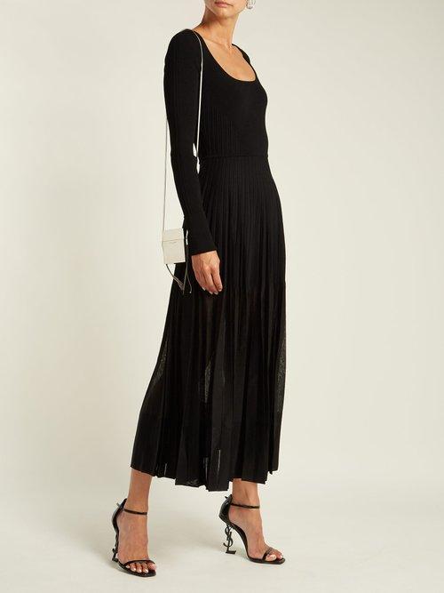 Stretch-knit pleated midi dress by Alexander Mcqueen