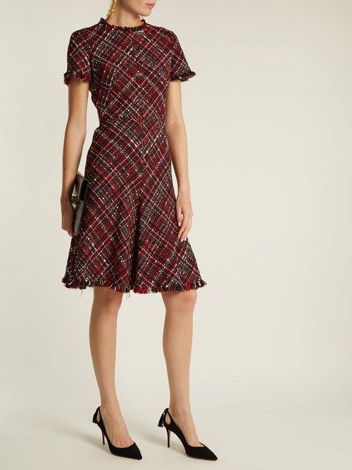 Shop Alexander Mcqueen Short-sleeved tweed dress online sale