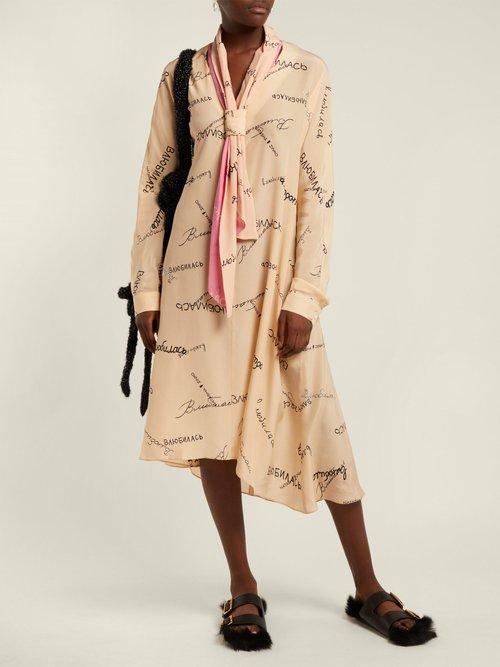 Tie Neck Silk Georgette Dress by Natasha Zinko