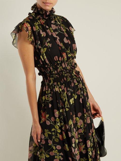 Ruffled floral-print silk-chiffon dress by Giambattista Valli
