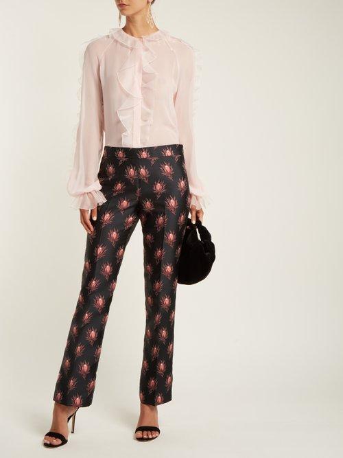 Ruffle-trimmed silk-chiffon blouse by Giambattista Valli