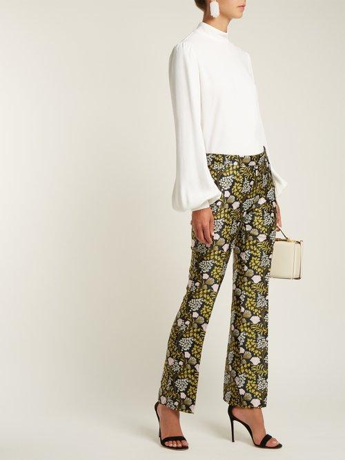 Blouson-sleeve crepe blouse by Giambattista Valli