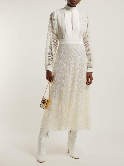 Crepe And Floral Lace Midi Dress by Giambattista Valli