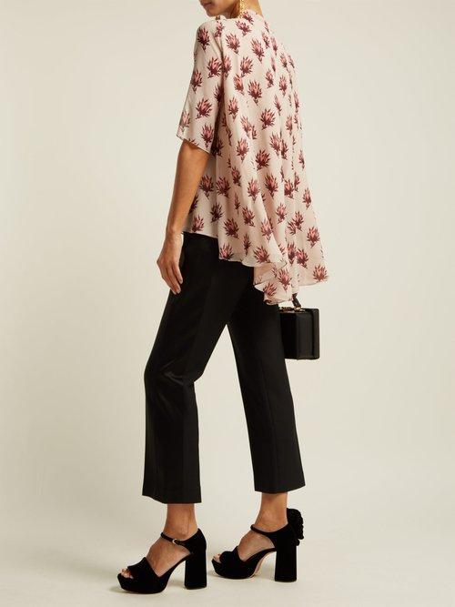 Floral-print silk-georgette blouse by Giambattista Valli