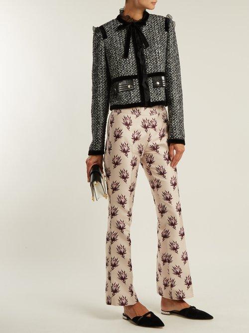 Ruffle Trimmed Tweed Jacket by Giambattista Valli