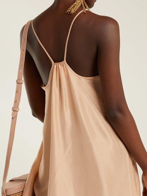 Classic scoop-neck silk-satin slip dress by Loup Charmant