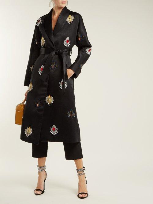 Margeaux Embellished Satin Coat by Osman