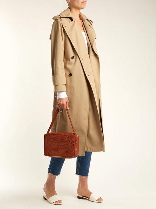 Tate medium crocodile-effect leather shoulder bag by Lutz Morris