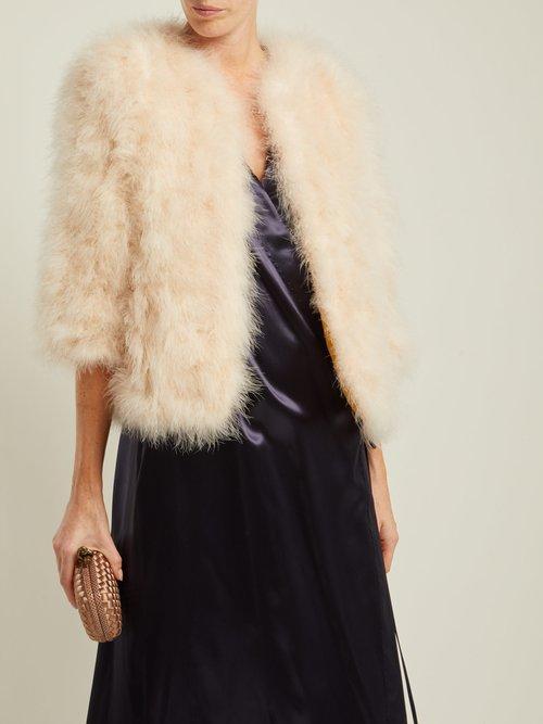 Cropped Feather Embellished Jacket by Yves Salomon