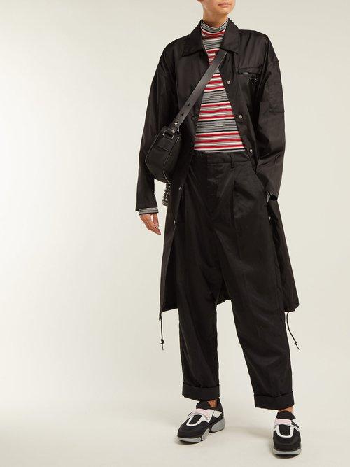 Point Collar Nylon Coat by Prada