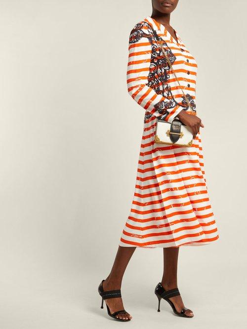 Shop Prada Striped twill dress online sale