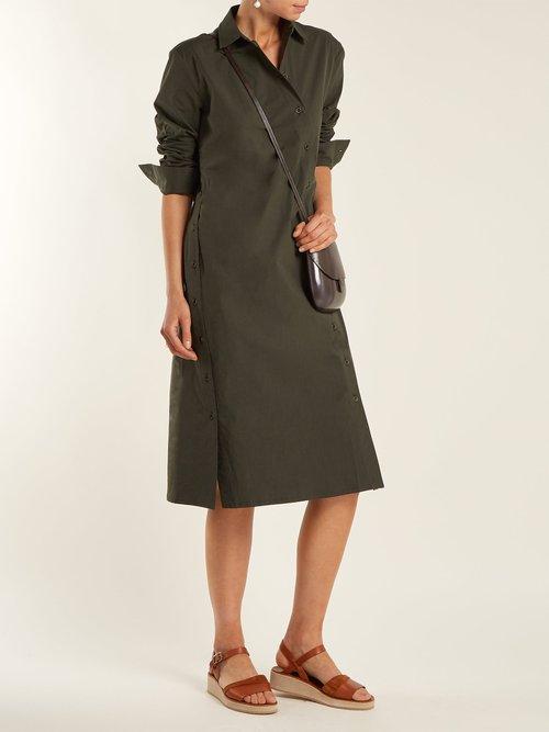 Asymmetric-buttoned poplin dress by Tomas Maier