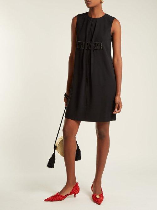 Crystal-embellished crepe shift dress by No. 21