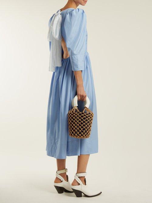 Shop Anna October Tie-back cut-out silk dress online sale
