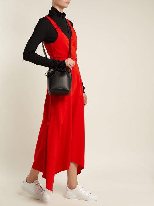 Red-lined Mini Mini leather bucket bag by Mansur Gavriel