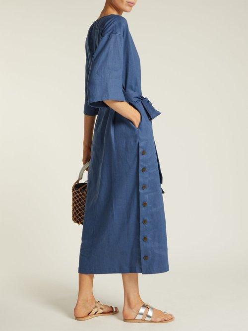 Akello belted hemp midi dress by Mara Hoffman