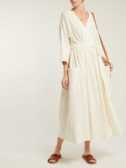 Anya Organic Cotton Wrap Midi Dress by Mara Hoffman