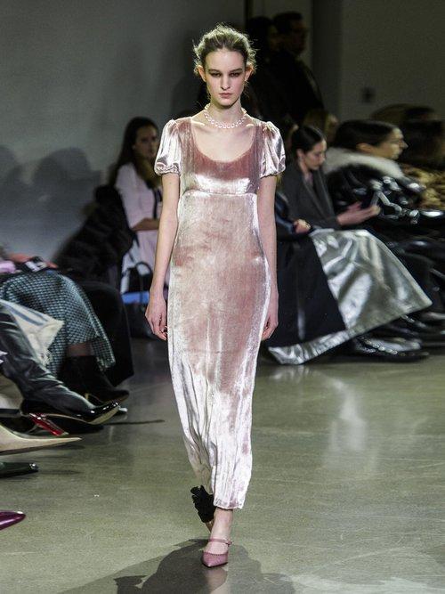 Docia Draped Velvet Midi Dress by Brock Collection