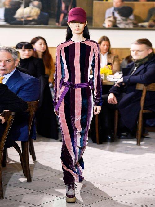 Veria Striped Velvet Dress by Gabriela Hearst