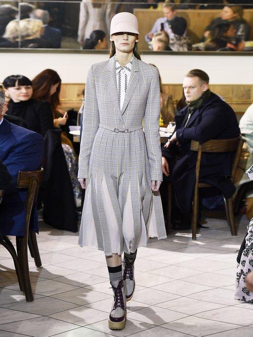 Narciza Plaid Wool Blend Pleated Dress by Gabriela Hearst