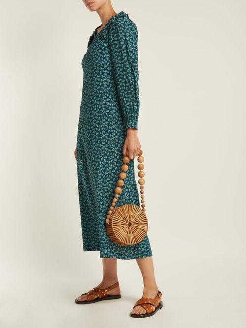 Provence floral-print silk midi dress by Masscob