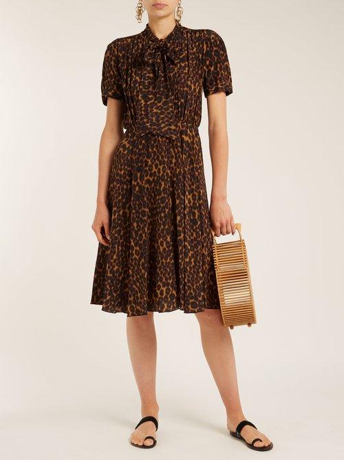 Delon leopard-print silk midi dress by Masscob