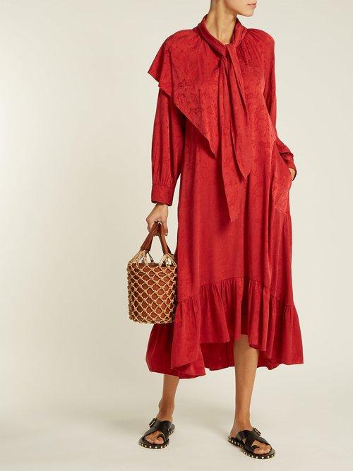 Brittany Silk Blend Jacquard Dress by Masscob
