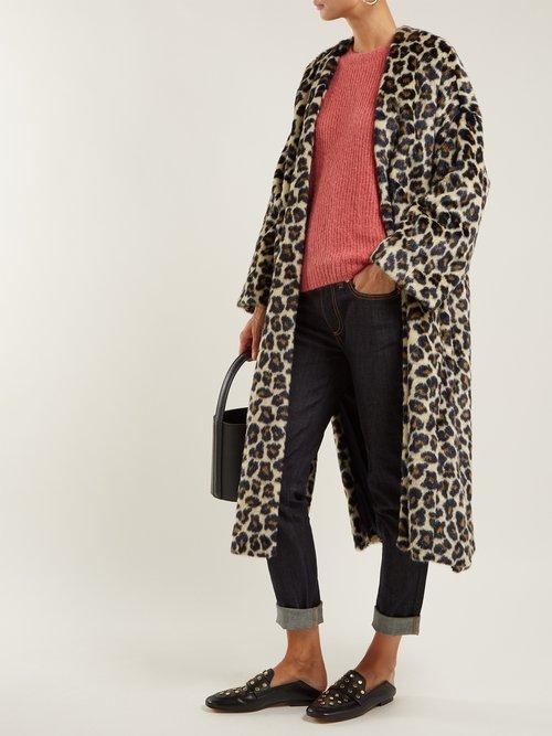 Timothee Leopard Print Faux Fur Coat by Masscob
