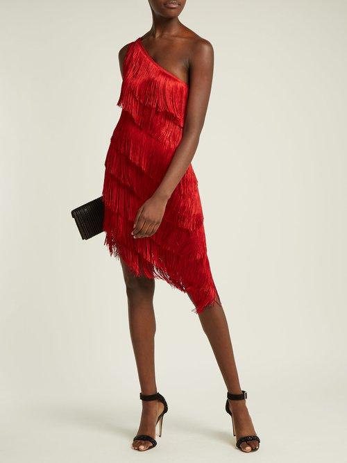 Asymmetric fringed dress by Norma Kamali