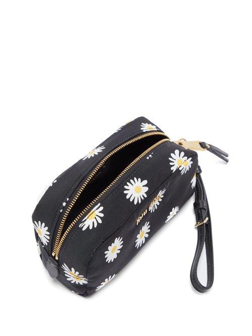 Daisy-print nylon pouch by Miu Miu