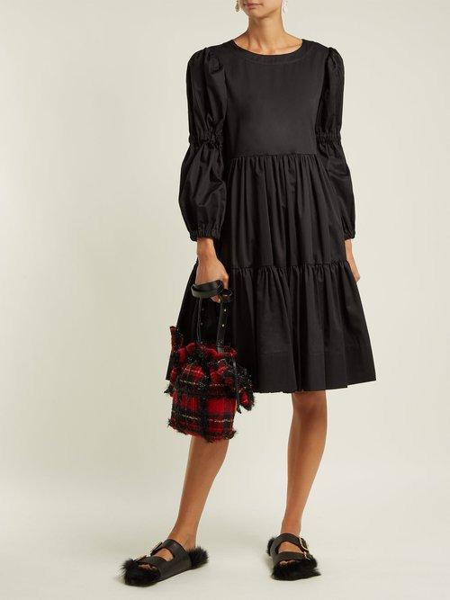 Embellished wool tartan shoulder bag by Simone Rocha