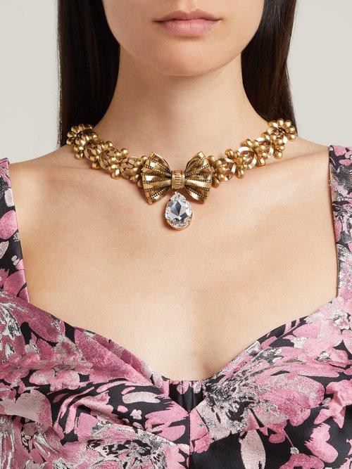 Photo of Crystal Embellished Bow Brass Necklace by Rodarte - shop Rodarte online sales